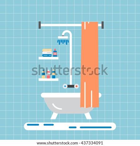 Element for bathroom vector isolated. Vector bathroom interior outline. Bathroom furniture vector flat and isolated. Interior vector isolated flat - stock vector