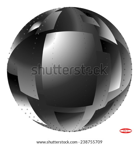 element for design abstract black white ball with fragments isolated on white background vector