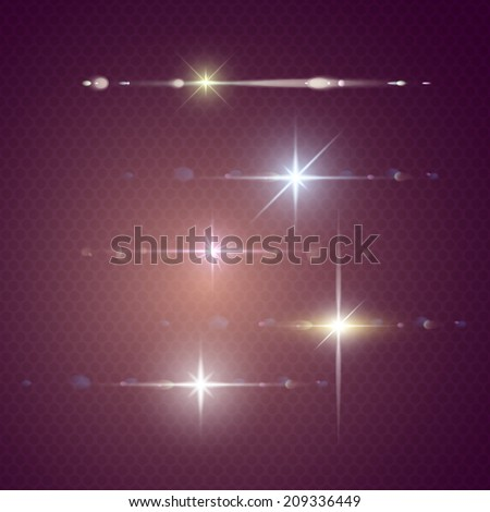 Element light with lens effect in stars form set. - stock vector