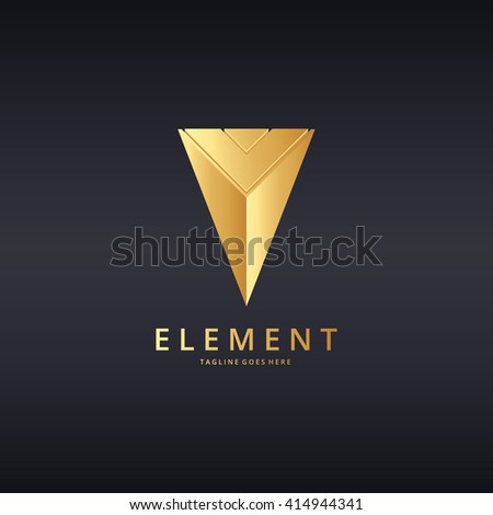 Element logo. Pyramid logo. Logo template suitable for businesses and product names. Easy to edit, change size, color and text.  - stock vector