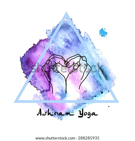 Element mudra yoga hands with mehendi patterns. Vector illustration for a yoga studio, tattoo, spa, postcards, souvenirs. Indian traditional lifestyle. - stock vector
