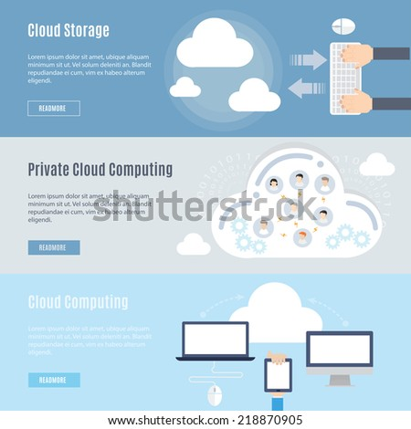 Element of computer cloud concept icon in flat design - stock vector