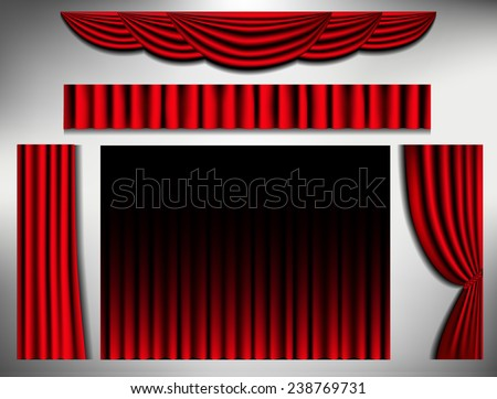 element of curtain frame, classic vintage vector illustration. - stock vector