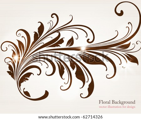 Element of ornament for retro and vintage design with leafs and flowers. eps 10 - stock vector