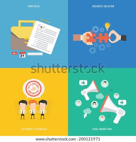 Element of portfolio, solution, viral marketing and testimonial - stock vector