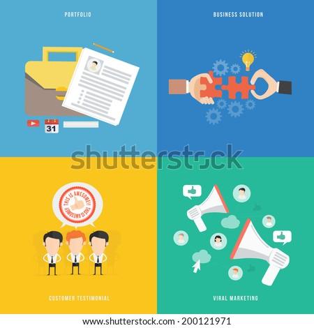Element of portfolio, solution, viral marketing and testimonial - stock vector