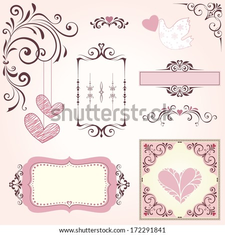 Element pack. Wedding / Valentines  swirl ornate motifs and frames / banners. - stock vector