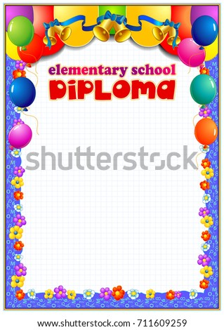 primary school diploma stock vector shutterstock elementary school diploma template design consists of bright colored school supplies balloons and other
