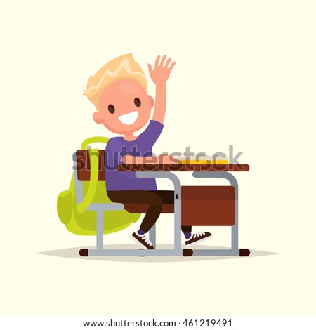 Elementary school student. A schoolboy raises his hand to answer. Vector illustration of a flat design