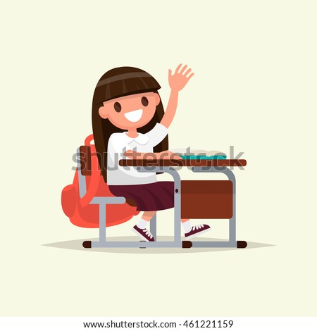 Elementary school student. A schoolgirl raises her hand to answer. Vector illustration of a flat design