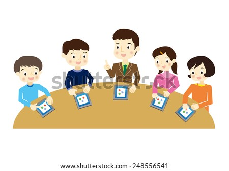 Elementary school students to study in the tablet PC - stock vector