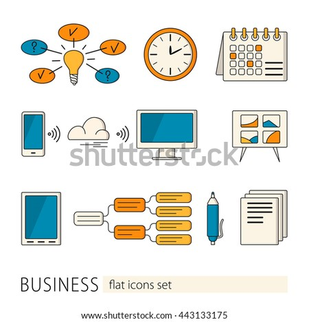 Elements and concepts of business, office work. Colorful modern design vector illustrations