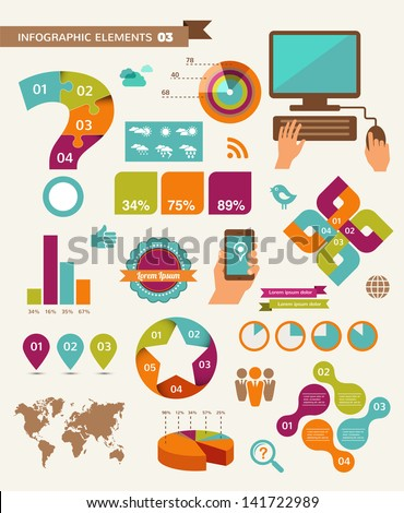 Elements and icons of infographics - stock vector