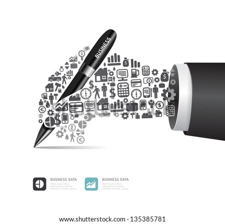Elements are small icons Finance make in active businessman hand with pen shape.Vector illustration. concept - stock vector