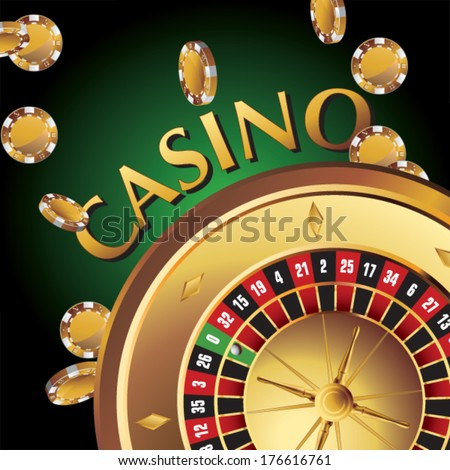 elements casino, gold roulette - stock vector