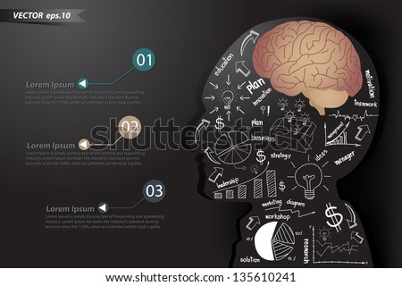 Elements charts and graphs drawing business strategy plan make in man think with brain concept, Vector illustration template design - stock vector