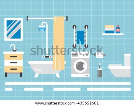 Elements for bathroom interior. Bathroom interior vector. Bathroom interior element isolated. Bathroom interior outline. - stock vector