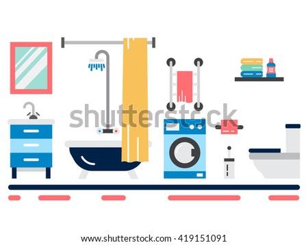 Elements for bathroom interior. Bathroom interior vector. Elements for bathroom interior. Bathroom interior vector. Bathroom interior element isolated. Bathroom interior outline. - stock vector