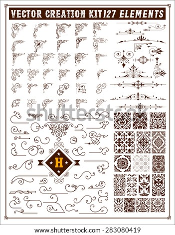 Elements for design. Corners, accents and patterns set - stock vector