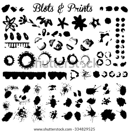 Elements for grunge design and ink blots isolated on white background, vector image. - stock vector