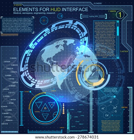 Elements for HUD interface.Complex engineering design, allowing to accurately determine the location of the object at any point on the globe. - stock vector
