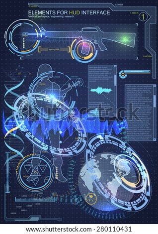 Elements for HUD interface.Complex engineering design, allowing to accurately determine the location of the object at any point on the globe. sound analysis, sound wave path track. Voice of military - stock vector