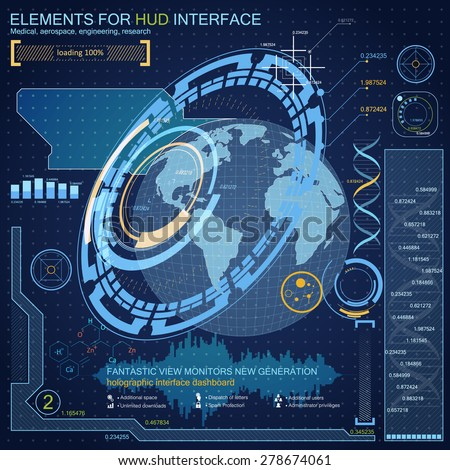 Elements for HUD interface.Technology of the future of the planet Earth to quickly locate an object anywhere in the world. Satellite communications, navigation, tracking - stock vector