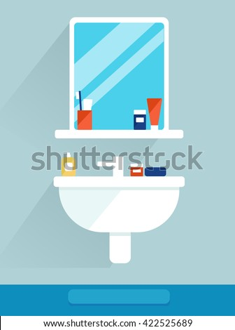 Elements for modern bathroom. Mirror, shelf and sink. Interior, flat icon design. Set. Sanitary Ware Objects - stock vector