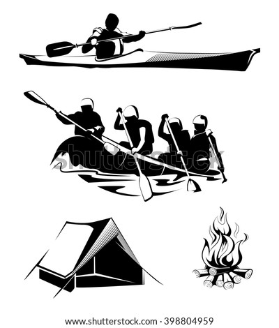 Elements for outdoor camping and rafting labels, logos, emblems. Sport, summer, adventure, travel, activity. Vector illustration