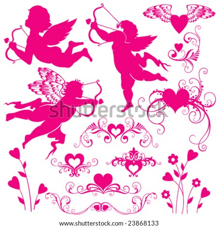 elements for valentine`s day - stock vector
