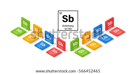 Elements in the Periodic Table Antimony 3D Isometric Style Vector Illustration