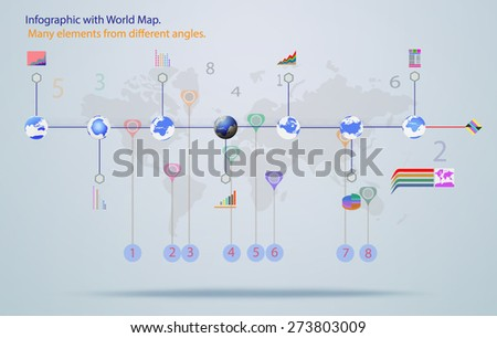 Elements infographic vector illustration. World Map, Information and Graphics - stock vector