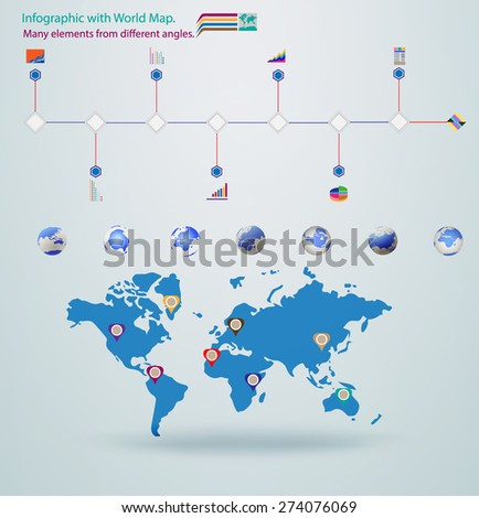 Elements infographic vector illustration. World Map, Information and Graphics