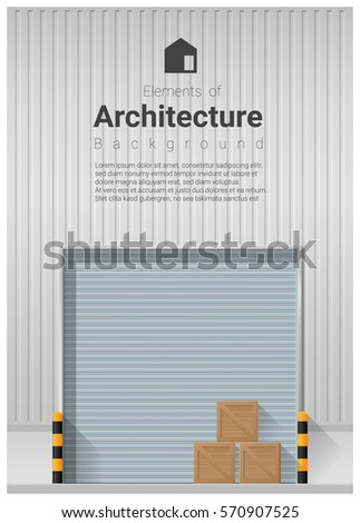 Elements Of Architecture , Factory Door Background , Vector ,illustration