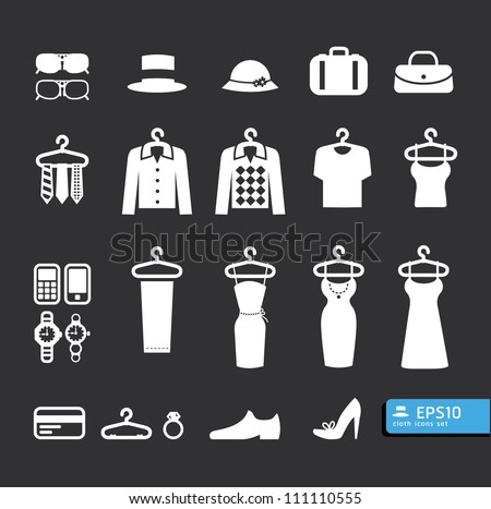Elements of Clothing Store Icon vector - stock vector