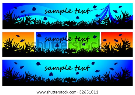 Elements of coral reef for web-site. - stock vector
