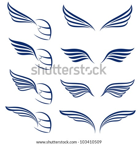 Elements of design racing wings. Illustration on white background. - stock vector