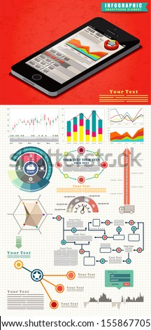 Elements of infographics is a set of beautiful the flat design trend, UI design, Stock Vector Illustration - stock vector