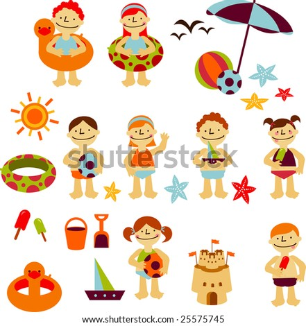 Elements of kids summer holidays, with toys, balls, gulls, sea star, sand castle, boats, save lifes, sun and ice cream - stock vector