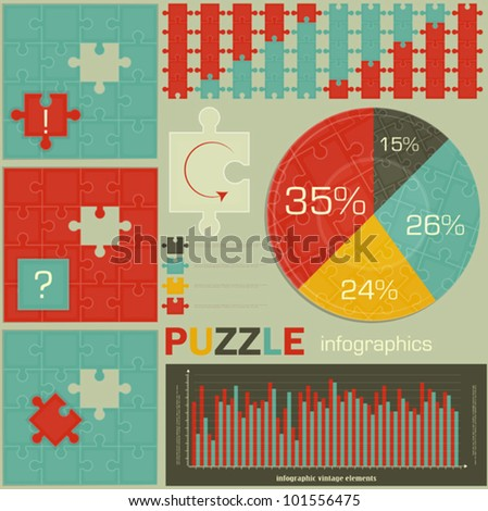 elements of Puzzle for Infographics - charts and graphs for presentations - vector illustration - stock vector