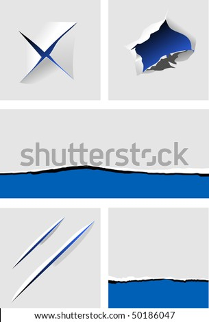Elements of torn paper with holes for design. Jpeg version also available - stock vector