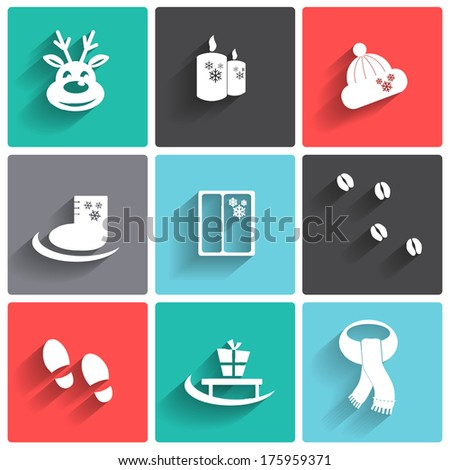 Elements winter icons on colorful squares.Vector  illustration. - stock vector