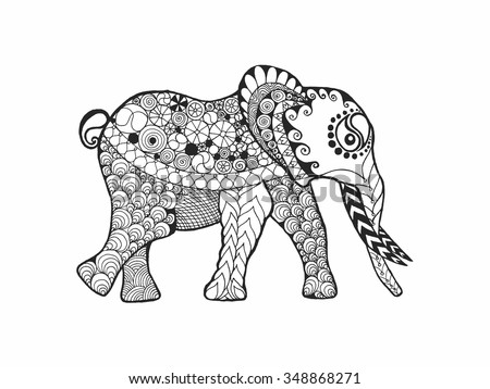 Elephant Adult Antistress Coloring Page Black Stock Vector 348868271 ...