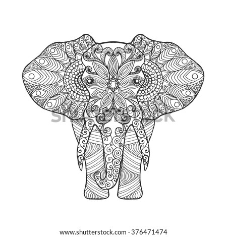 elephant adult antistress coloring page black white hand drawn doodle animal ethnic patterned