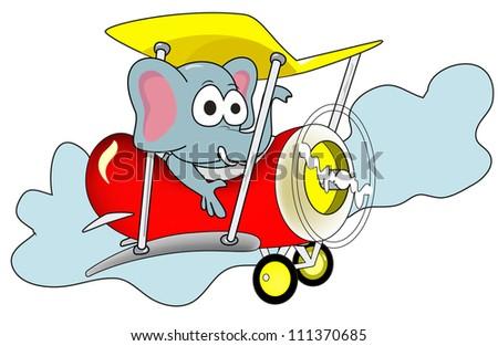 elephant air plane in the sky - stock vector
