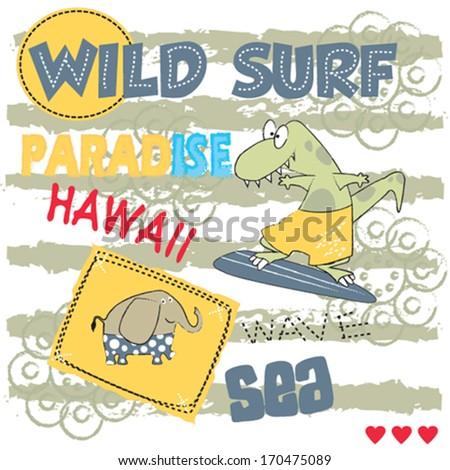 elephant and crocodile on the beach, hawaii, surf,  invitation card vector illustration - stock vector