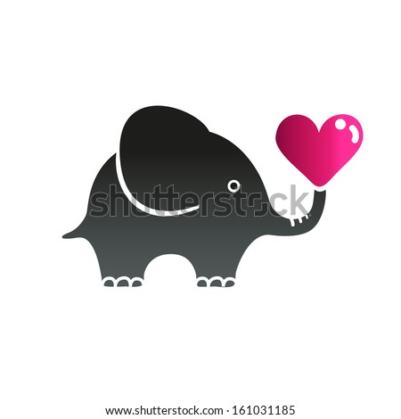 Elephant and heart - stock vector