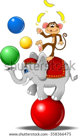elephant and monkey juggling the ball at the circus - stock vector