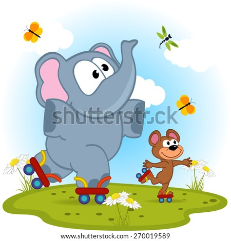 elephant and mouse roller skating - vector illustration, eps