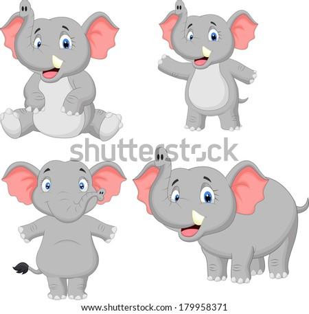 Elephant cartoon collection set - stock vector